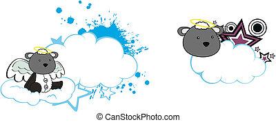 Los dibujos animados de ángel ovejero copian el espacio