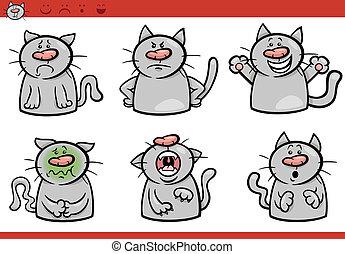 Los dibujos animados de emociones de gato