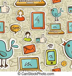 Los dibujos animados de los medios sociales tienen un patrón colorido