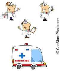 Los doctores dibujan personajes de dibujos animados