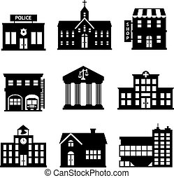 Los edificios gubernamentales son íconos blancos y negros