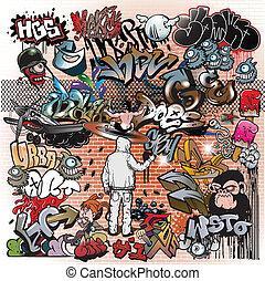Los elementos de arte urbano Graffiti