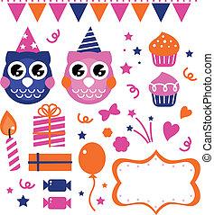 Los elementos de diseño de fiestas de cumpleaños