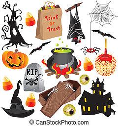 Los elementos de la fiesta de Halloween