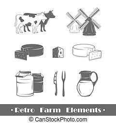 Los elementos de la granja Retro