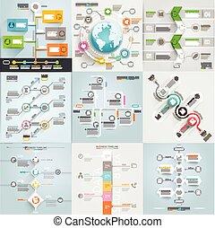 Los elementos de la línea de tiempo empresarial se integran. Puede usarse para diseño de flujo de trabajo, pancarta, diagrama, opciones de número, diseño web, plantilla gráfica