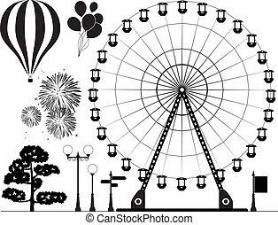 Los elementos del parque de atracciones