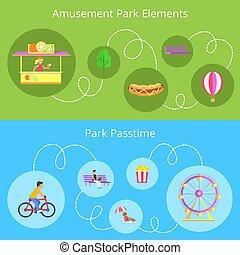 Los elementos del parque de atracciones fijan ilustración vectorial