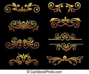 Los elementos florales de la cosecha de oro y las fronteras
