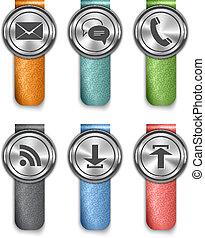 Los elementos metálicos de comunicación con correas de cuero de color