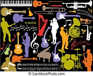Los elementos musicales del vector.