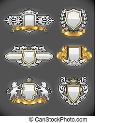 Los emblemas de la cosecha heráldica pusieron plata y oro