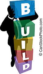 Los empresarios apilan cajas para construir