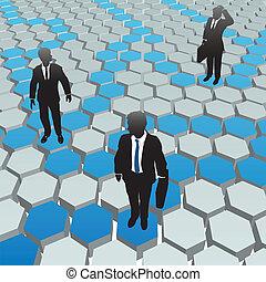 Los empresarios de la red de hexagon de los medios sociales