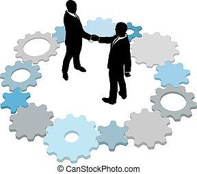 Los empresarios de tecnología negocian engranajes