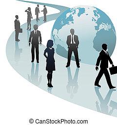 Los empresarios en el mundo del futuro siguen el progreso