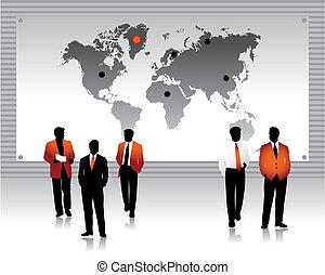 Los empresarios siluetas, mapa mundial