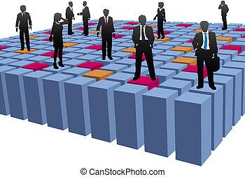 Los empresarios trabajan cubos abstractos