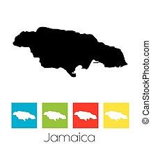 Los esquemas y cuadrados de colores del país de Jamaica