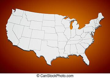 Los Estados Unidos hacen un mapa en naranja