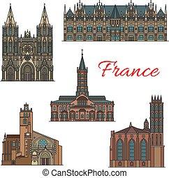 Los famosos monumentos de Francia vector de iconos