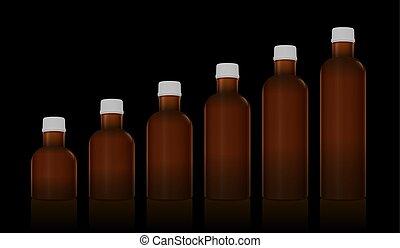 Los frascos farmacéuticos de medicina marcan diferentes tamaños