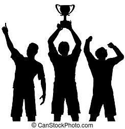 Los ganadores del trofeo celebran la victoria deportiva