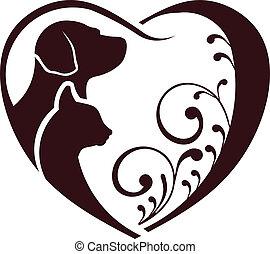 Los gatos adoran el corazón