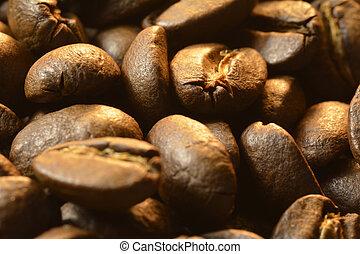 Los granos de café huelen el aroma del expreso fresco