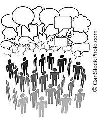 Los grupos de la compañía hablan de medios sociales de la red