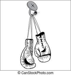 Los guantes de boxeo cuelgan con cordones