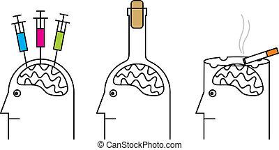 Los hábitos dañinos para la salud. Fumar, drogadicción, alcoholismo.