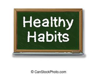 Los hábitos saludables en una pizarra negra