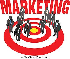Los hombres de negocios apuntan al marketing