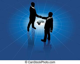 Los hombres de negocios globales saludan el acuerdo mundial