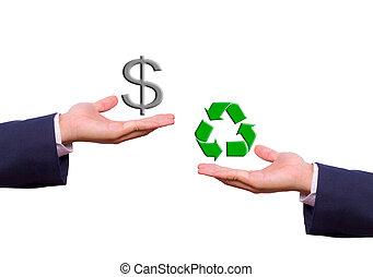 Los hombres de negocios intercambian signo de dólar y reciclan iconos