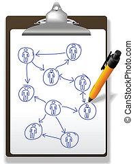 Los hombres de negocios planean una cadena de diagramas