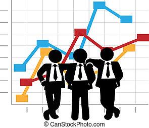 Los hombres de negocios se benefician de la gráfica de crecimiento