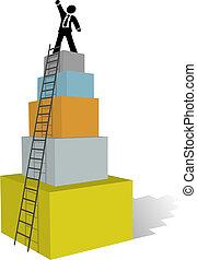 Los hombres de negocios suben a la cima del éxito