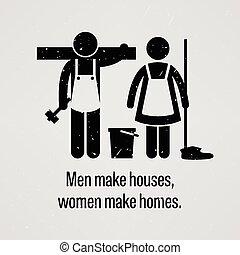 Los hombres hacen casas, las mujeres hacen casas