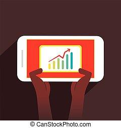 Los hombres ven el gráfico de crecimiento de los negocios