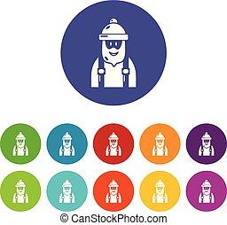 Los iconos carpinteros marcan el color vectorial
