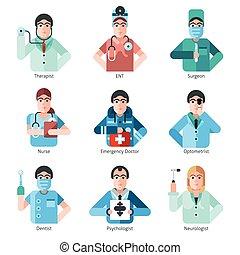 Los iconos de carácter del doctor