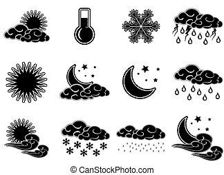 Los iconos de colores del día nocturno