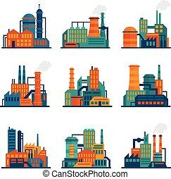 Los iconos de construcción industriales se han pinchado