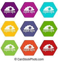 Los iconos de datos de las nubes marcaron 9