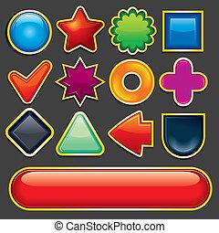 Los iconos de diseño cartoónico