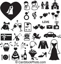 Los iconos de la boda marcan las eps de ilustración