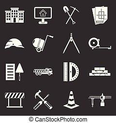 Los iconos de la construcción marcan el vector gris