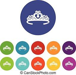 Los iconos de la corona tiara marcan el color vectorial